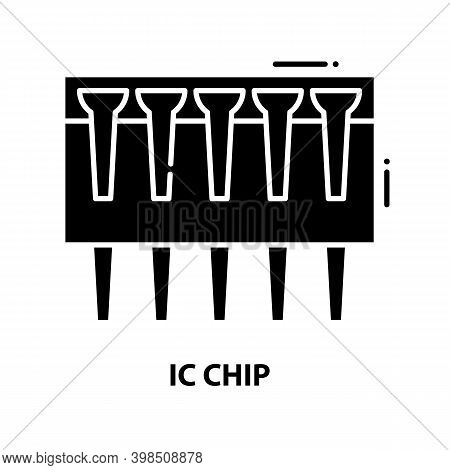 Ic Chip Icon, Black Vector Sign With Editable Strokes, Concept Illustration