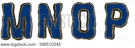 Set of alphabet letters M, N, O, P made of industrial metal blue color. Isolated white background. 3d rendering