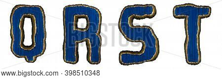 Set of alphabet letters Q, R, S, T made of industrial metal blue color. Isolated white background. 3d rendering