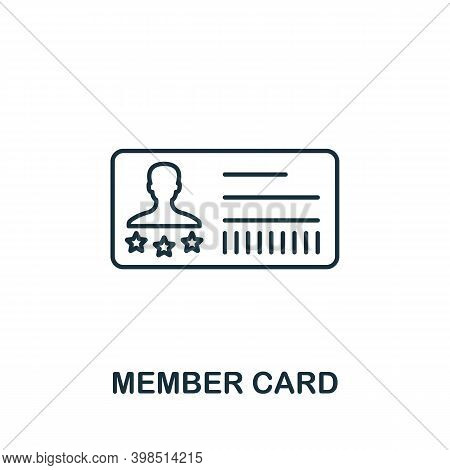 Member Card Icon. Line Style Element From Loyalty Program Collection. Thin Member Card Icon For Temp