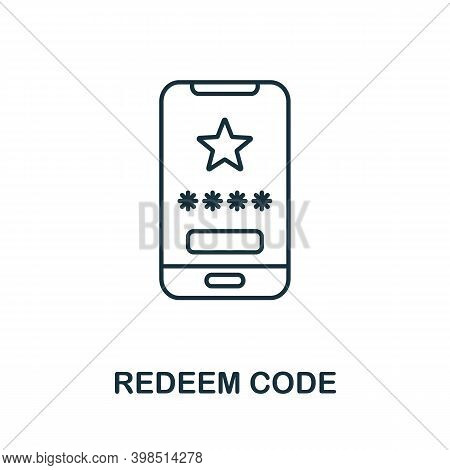 Redeem Code Icon. Line Style Element From Loyalty Program Collection. Thin Redeem Code Icon For Temp