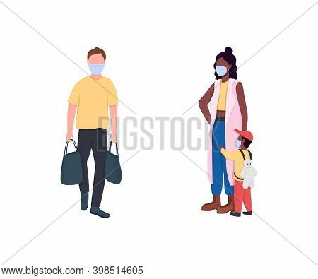 African And Caucasian People In Masks Flat Color Vector Faceless Character Set. Pandemic Healthcare