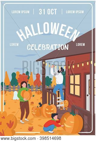 Halloween Celebration Poster Flat Vector Template. Mother, Father And Son Decorate House. Brochure,