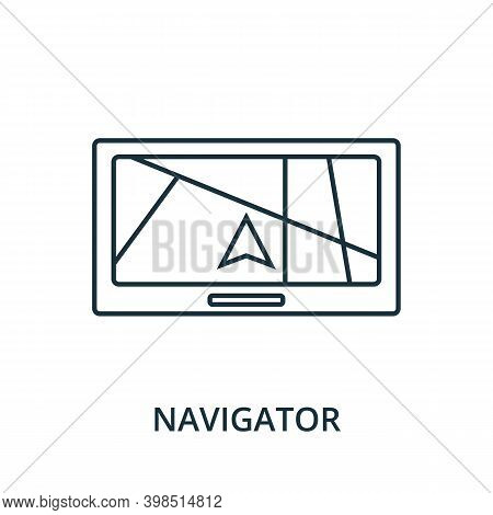Navigator Icon. Line Style Element From Navigation Collection. Thin Navigator Icon For Templates, In