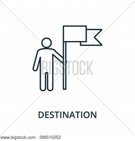 Destination Icon. Line Style Element From Navigation Collection. Thin Destination Icon For Templates