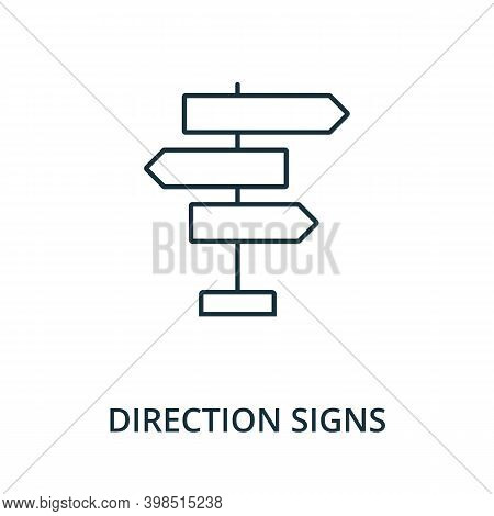 Direction Signs Icon. Line Style Element From Navigation Collection. Thin Direction Signs Icon For T