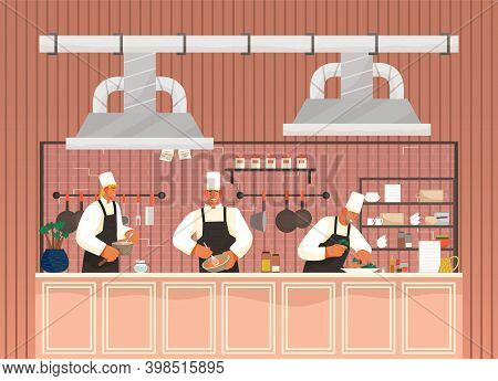 Chief-cooker Characters At Work. Cartoon Chief Cooking In Restaurant Professional Kitchen. Food Indu