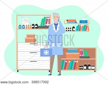 Veterinary Care. Veterinarian Doctor Male Character In The Medical Office. Doctor With Suitcase In A