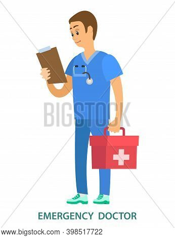 Medical Clinic Worker Holding Document And First Aid Kit. Emergency Doctor Examines Patient Informat