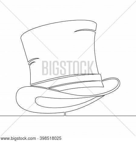 Continuous One Single Line Drawing Top Hat Cylinder Icon Vector Illustration Concept