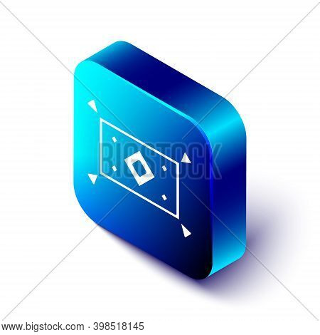 Isometric Magic Carpet Icon Isolated On White Background. Blue Square Button. Vector