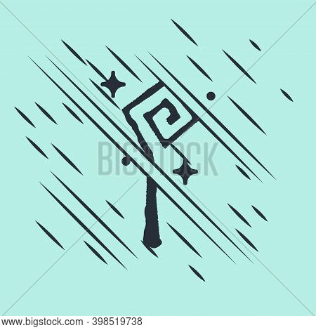 Black Magic Staff Icon Isolated On Green Background. Magic Wand, Scepter, Stick, Rod. Glitch Style.