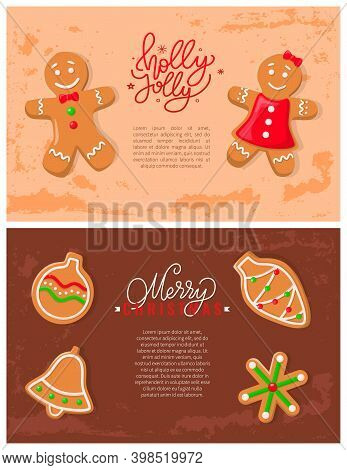Holly Jolly Gingerbread Cookies Made Of Ginger Vector. Festive Decoration Cone Biscuits, Bell And Co