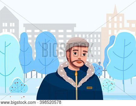 Man In Winter City Landscape. Young Bearded Guy Walk In Snow Covered Town. Male Character Wearing In