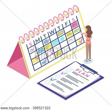 Calendar Schedule Isometric Concept Web Infographics Vector Illustration. Micro Girl And Big Schedul