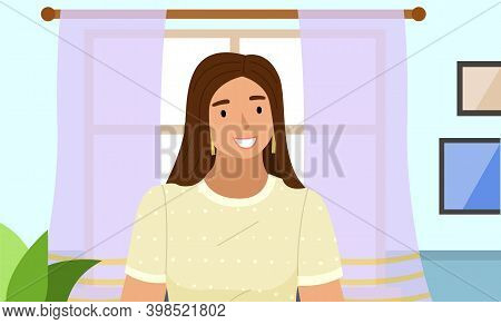Young Woman Standing In Livingroom Interior Near The Windows With Curtains. Smiling Girl Portrait In