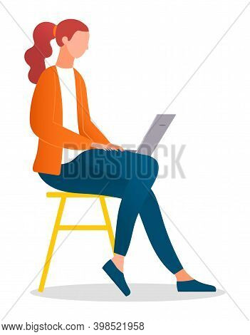 Woman Sitting On The Stool And Working With Laptop In Social Networks Isolated On White. Redheaded F