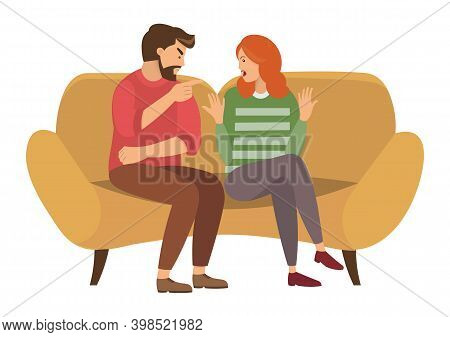 A Man And A Woman Are Sitting On A Large Yellow Sofa. A Couple Of People Quarrels Sitting On The Cou