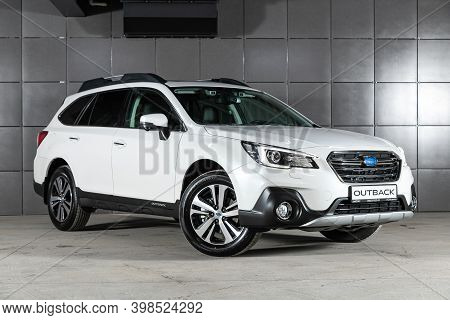 Novosibirsk, Russia - December 07, 2020:  New White Subaru Outback , Front View.  Photography Of A M