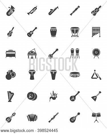 Musical Instruments Vector Icons Set, Modern Solid Symbol Collection, Filled Style Pictogram Pack. S