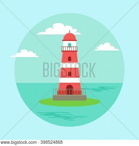 Lighthouse Blue Seascape Horizon In Daytime. Beacon Surrounded By Sea Water Vector Illustration. Bui