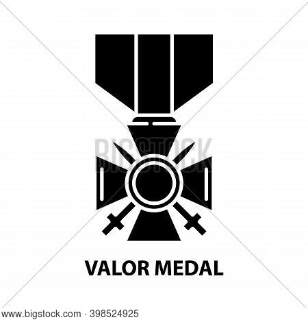 Valor Medal Icon, Black Vector Sign With Editable Strokes, Concept Illustration
