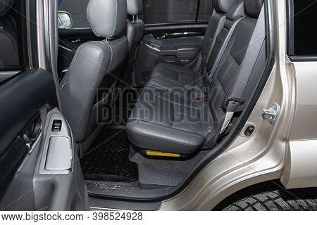 Novosibirsk, Russia - December 07, 2020:  Toyota Land Cruiser Prado, Comfort Car Inside. Clean Car I