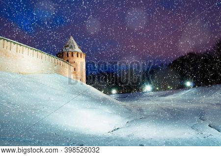 Winter Night View Of Veliky Novgorod, Russia. Tower Of Veliky Novgorod Kremlin Fortress In Winter Ni