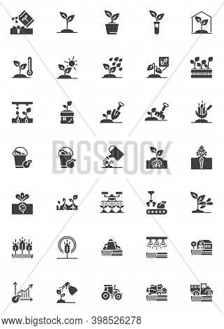 Farming Agriculture Vector Icons Set, Modern Solid Symbol Collection, Filled Style Pictogram Pack. S