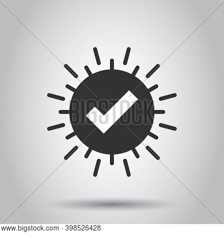 Check Mark Sign Icon In Flat Style. Confirm Button Vector Illustration On White Isolated Background.