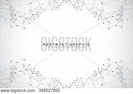 Abstract Perspective Background With Connected Line And Dots. Network And Connection Background For