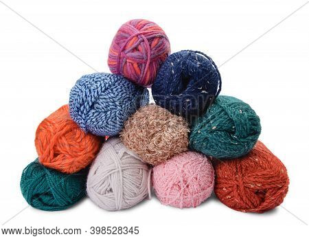 Group Of Hanks Of Colorful Yarns Isolated On White Background.