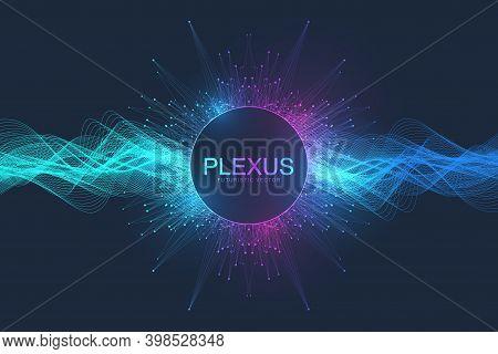 Abstract Plexus Background With Dynamic Particles Wave Flow. Plexus Stream Background. 3d Data Visua