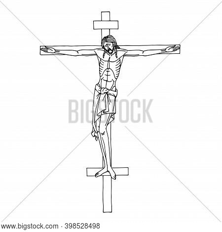 Crucifixion Of Jesus Christ On The Cross, Son Of God, Christian Religious Symbol, Orthodox Icon