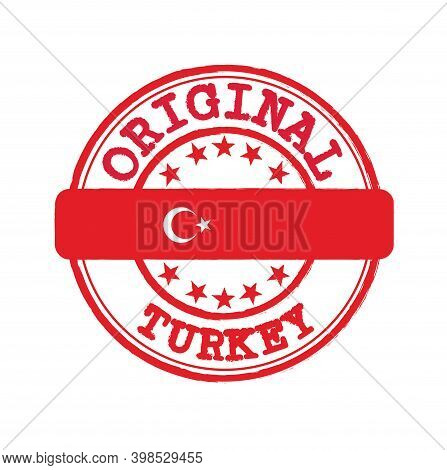 Vector Stamp Of Original Logo With Text Turkey And Tying In The Middle With Nation Flag. Grunge Rubb