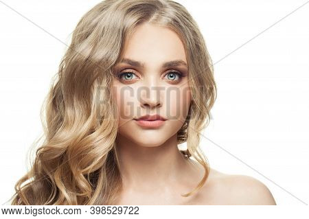 Beautiful Blonde Woman With Healthy Curly Hair Isolated On White Background