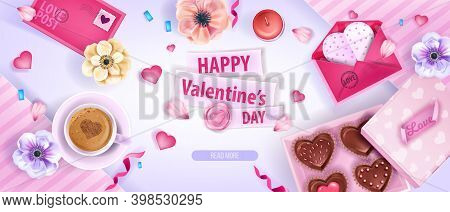 Valentine's Day Romantic 3d Vector Background With Anemone Flowers, Hearts,chocolate Candy Box. Holi