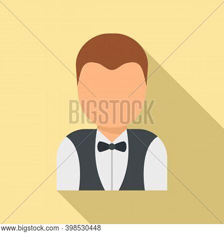 Room Service Maid Man Icon. Flat Illustration Of Room Service Maid Man Vector Icon For Web Design