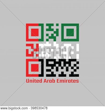 Qr Code Set The Color Of Uae Flag. Horizontal Tricolor Of Green White And Black With A Vertical Red