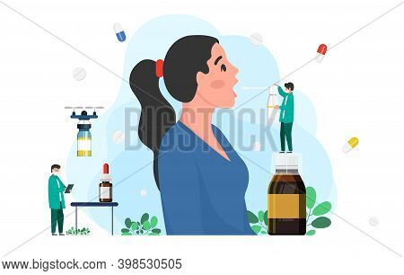 A Doctor Treats Throat To Patient With Throat Spray. Medicine Concept, Disease Treatment Concept. So