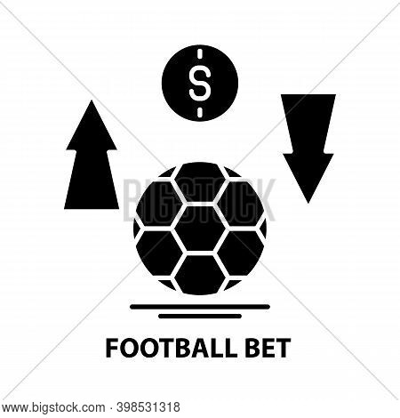 Football Bet Icon, Black Vector Sign With Editable Strokes, Concept Illustration