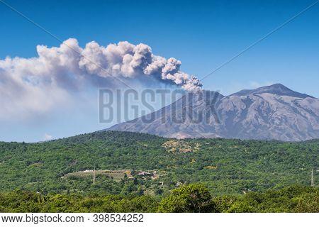 Volcano Etna eruption in Sicily, Italy