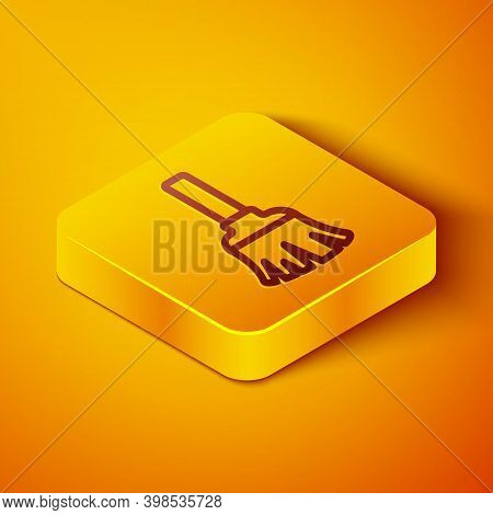 Isometric Line Feather Broom For Cleaning Icon Isolated On Orange Background. Feather Duster. Yellow