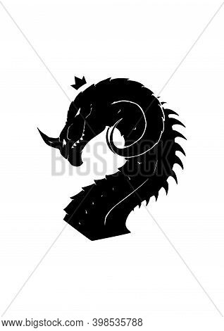 Vector Illustration Of Dragon Silhouette Head Isolated On White Background. Mystic Black Dragon For