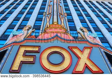 Detroit, Michigan, USA - August 30, 2020: Exterior sign of the historic Fox Theater in downtown Detroit. The Fox theater was opened in 1928.