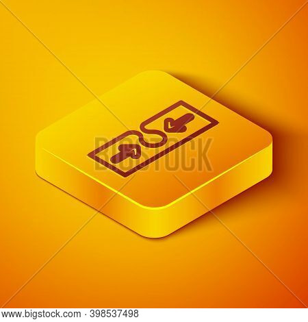 Isometric Line Acne Icon Isolated On Orange Background. Inflamed Pimple On The Skin. The Sebum In Th