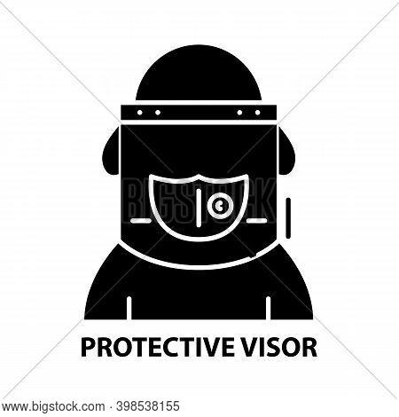Protective Visor Icon, Black Vector Sign With Editable Strokes, Concept Illustration