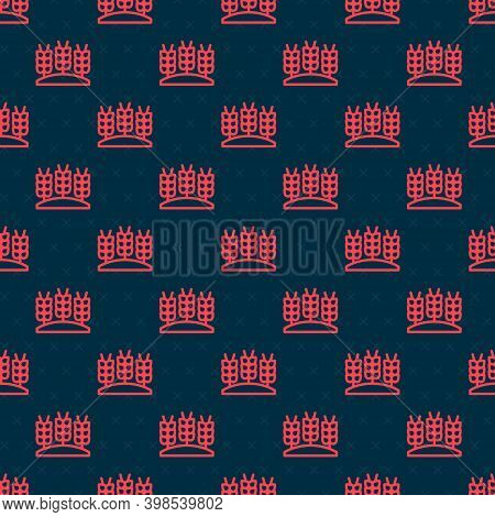 Red Line Cereals Set With Rice, Wheat, Corn, Oats, Rye, Barley Icon Isolated Seamless Pattern On Bla