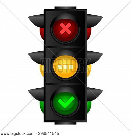 City Traffic Lights Icon. Cartoon Of City Traffic Lights Vector Icon For Web Design Isolated On Whit