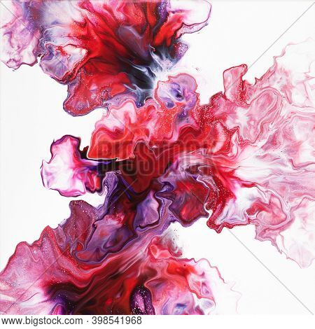 Colorful fluid art abstract composition on the white background